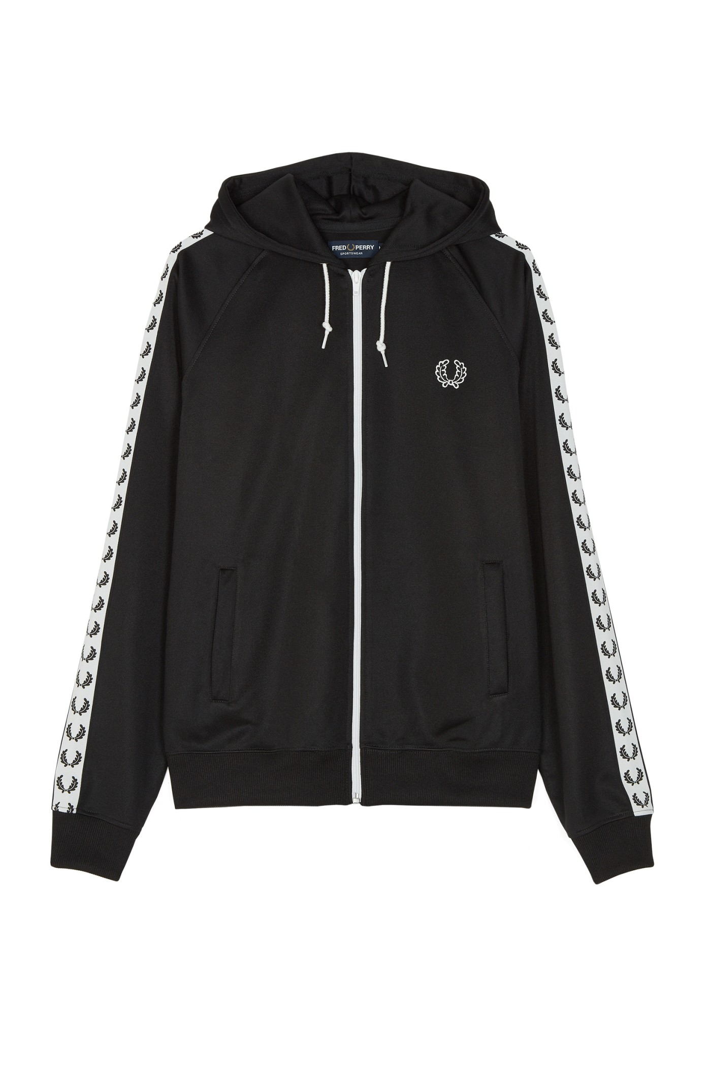 Fred Perry - Sports Authentic Taped Hooded Track Jacket Black
