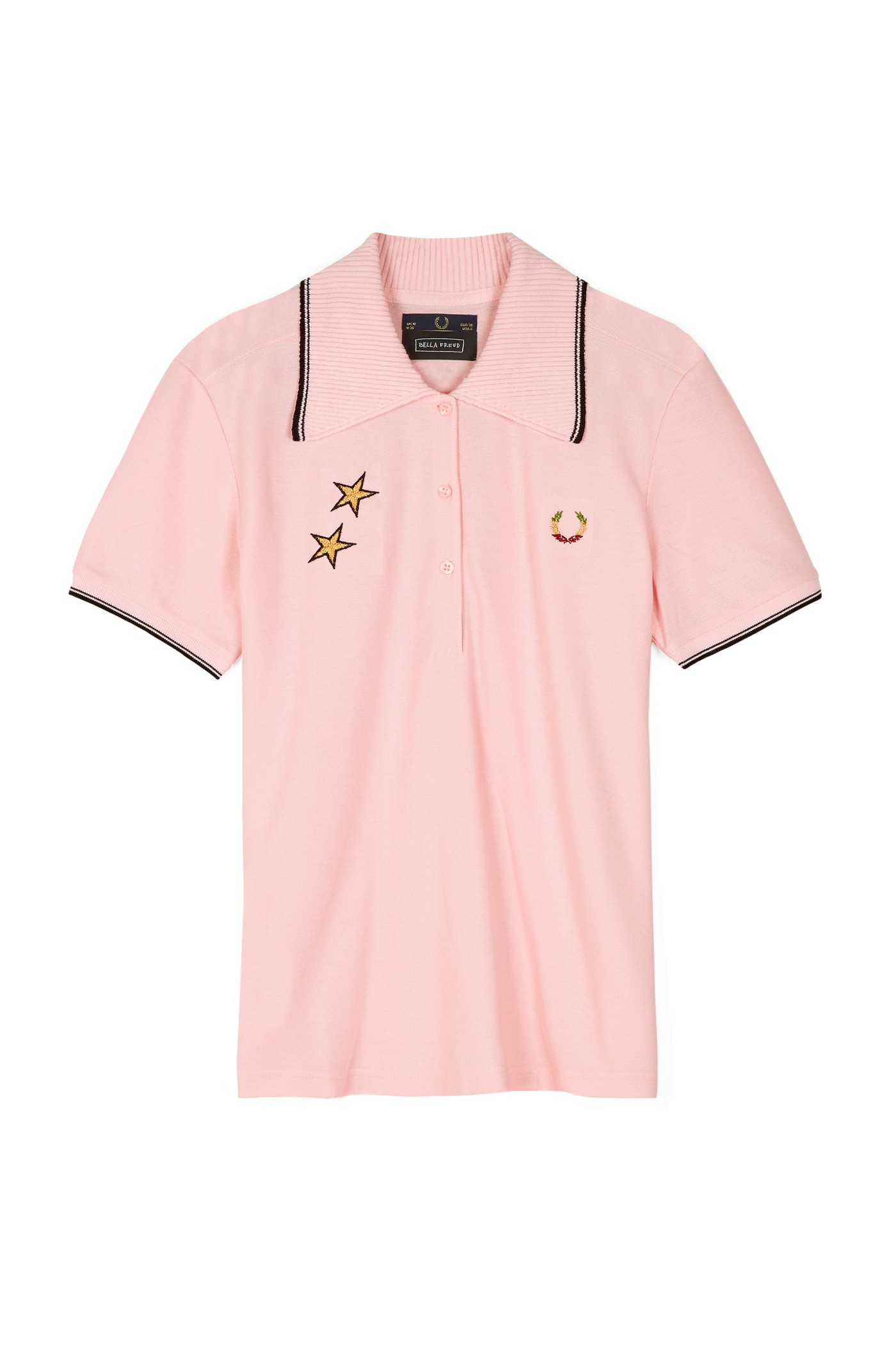 Fred Perry - Bella Freud Star Embroidered Piqué Shirt Soft Pink