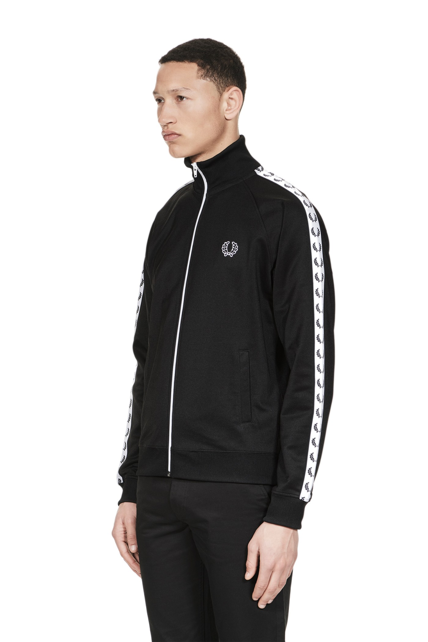 fred perry sports authentic taped track jacket black. Black Bedroom Furniture Sets. Home Design Ideas