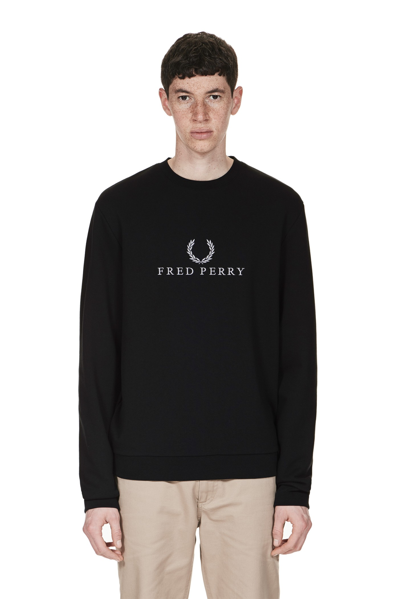 fred perry fred perry logo tennis sweatshirt black. Black Bedroom Furniture Sets. Home Design Ideas