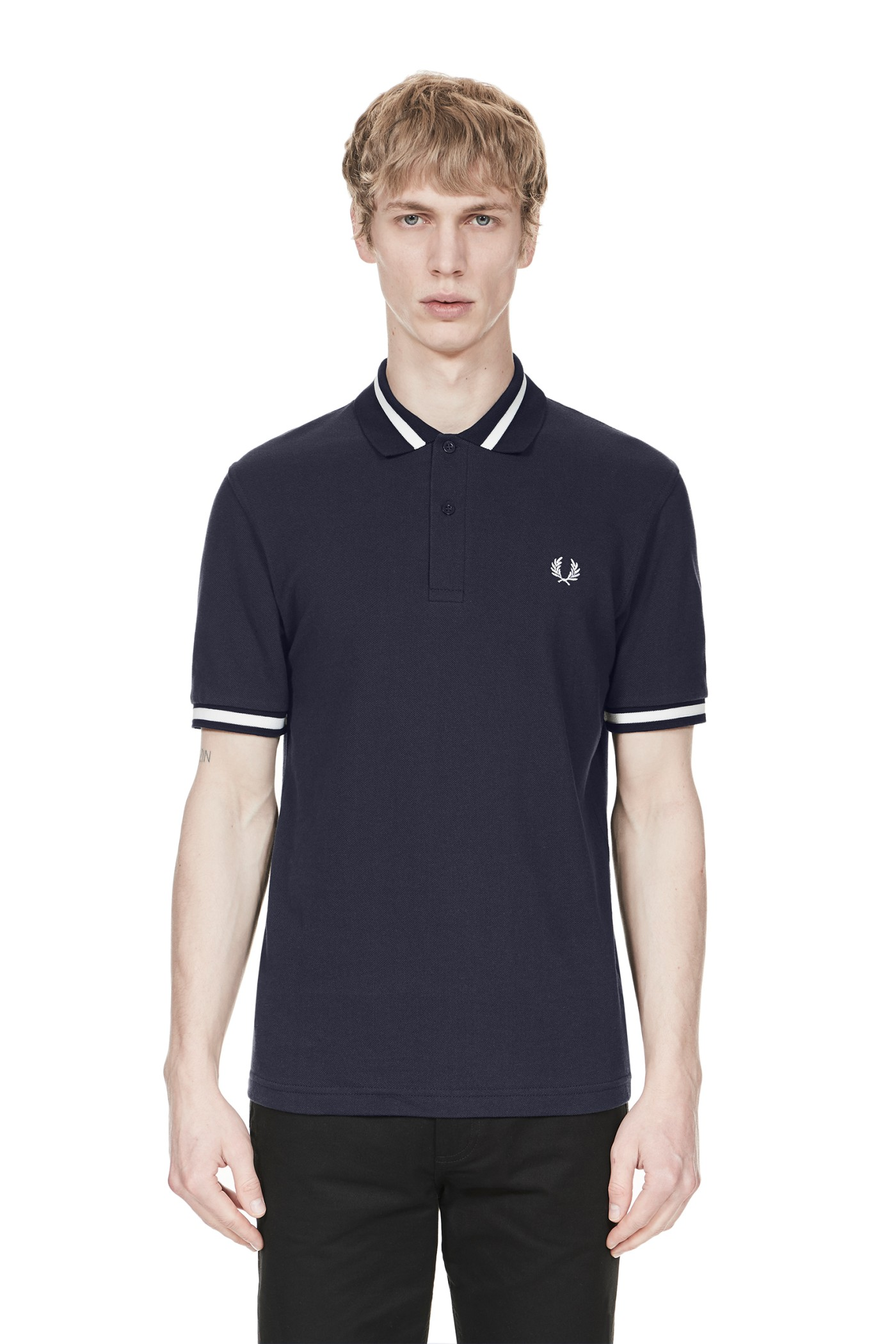 Fred Perry - Single Tipped Fred Perry Shirt Navy / Snow