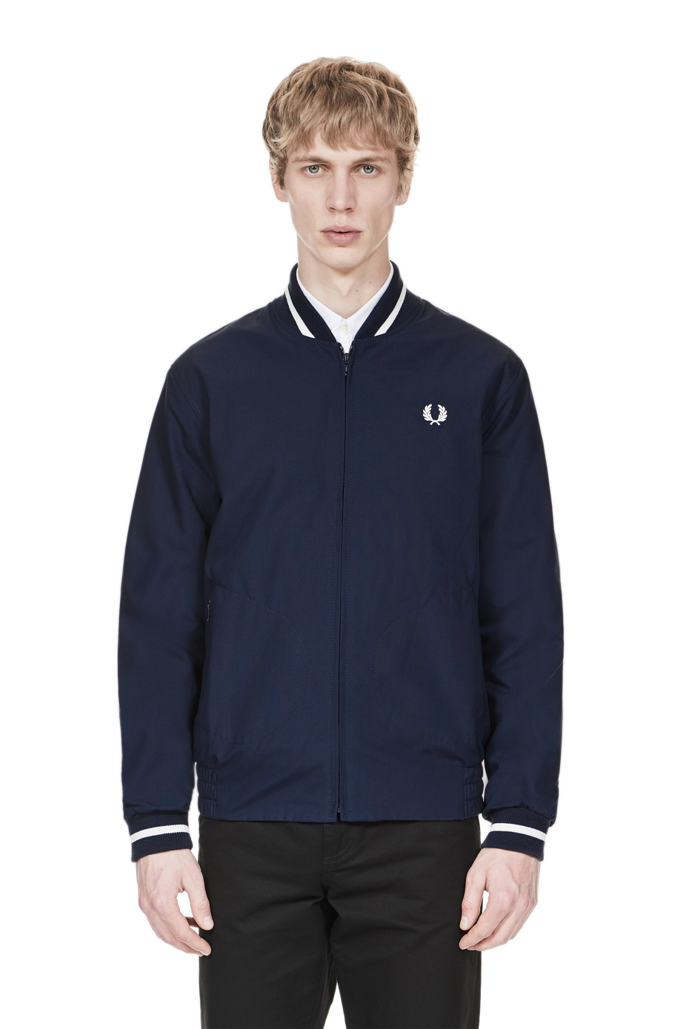 fred perry reissues made in england tennis bomber navy ecru. Black Bedroom Furniture Sets. Home Design Ideas