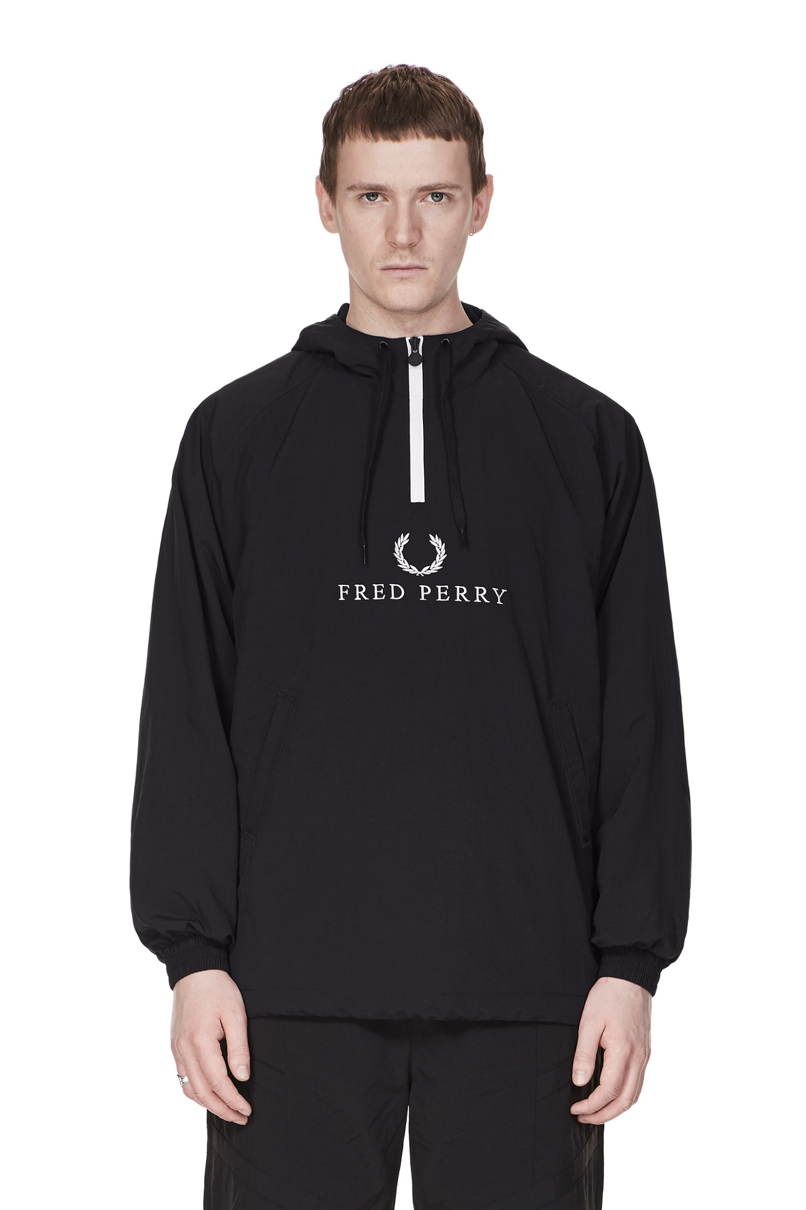 d9c0b5a23cc1 Fred Perry - Sports Authentic Embroidered Half-Zip Jacket Black