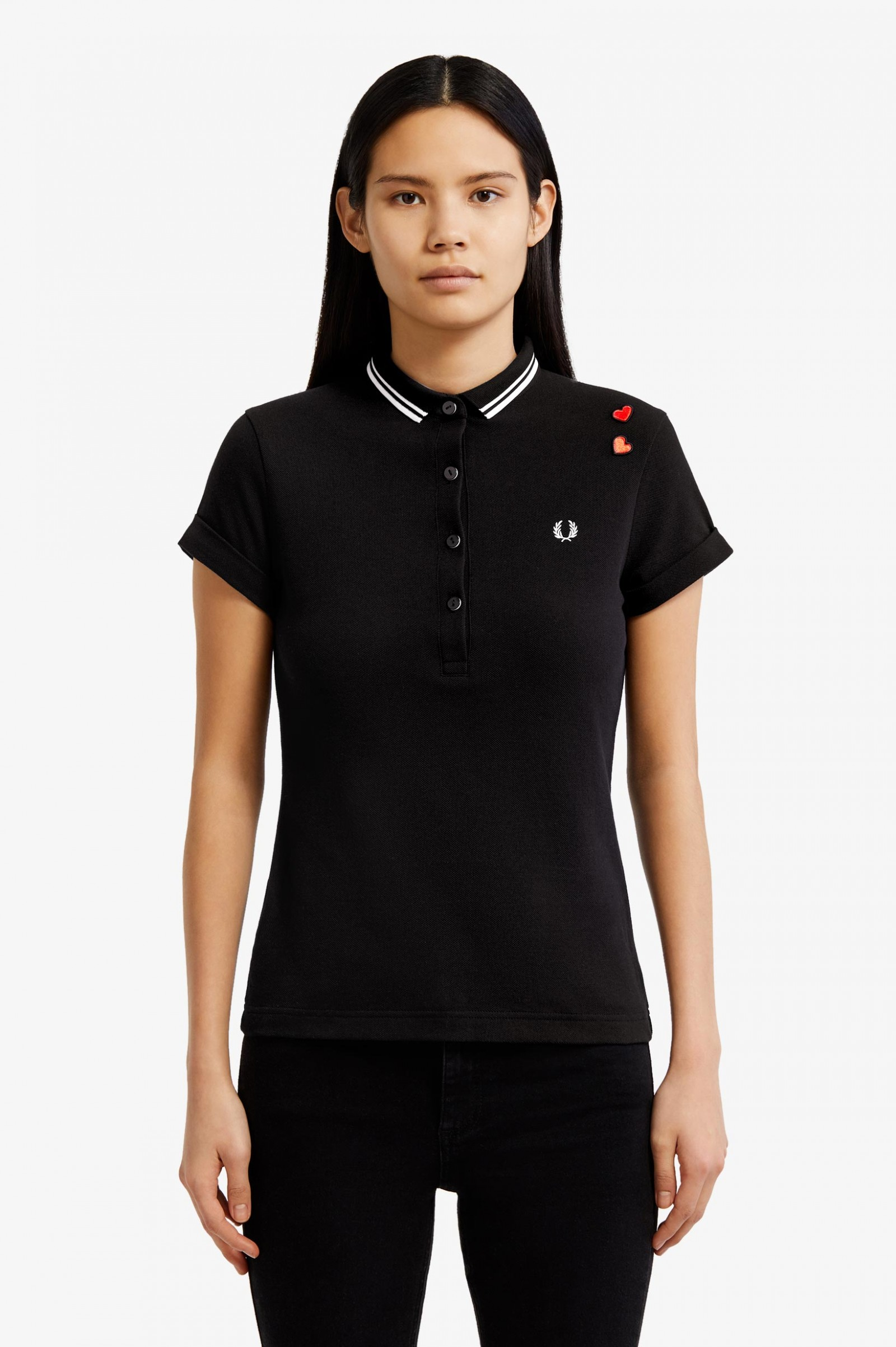 62085830 Amy Fred Perry Shirt - Black | Women's Polo Shirts | Fred Perry UK