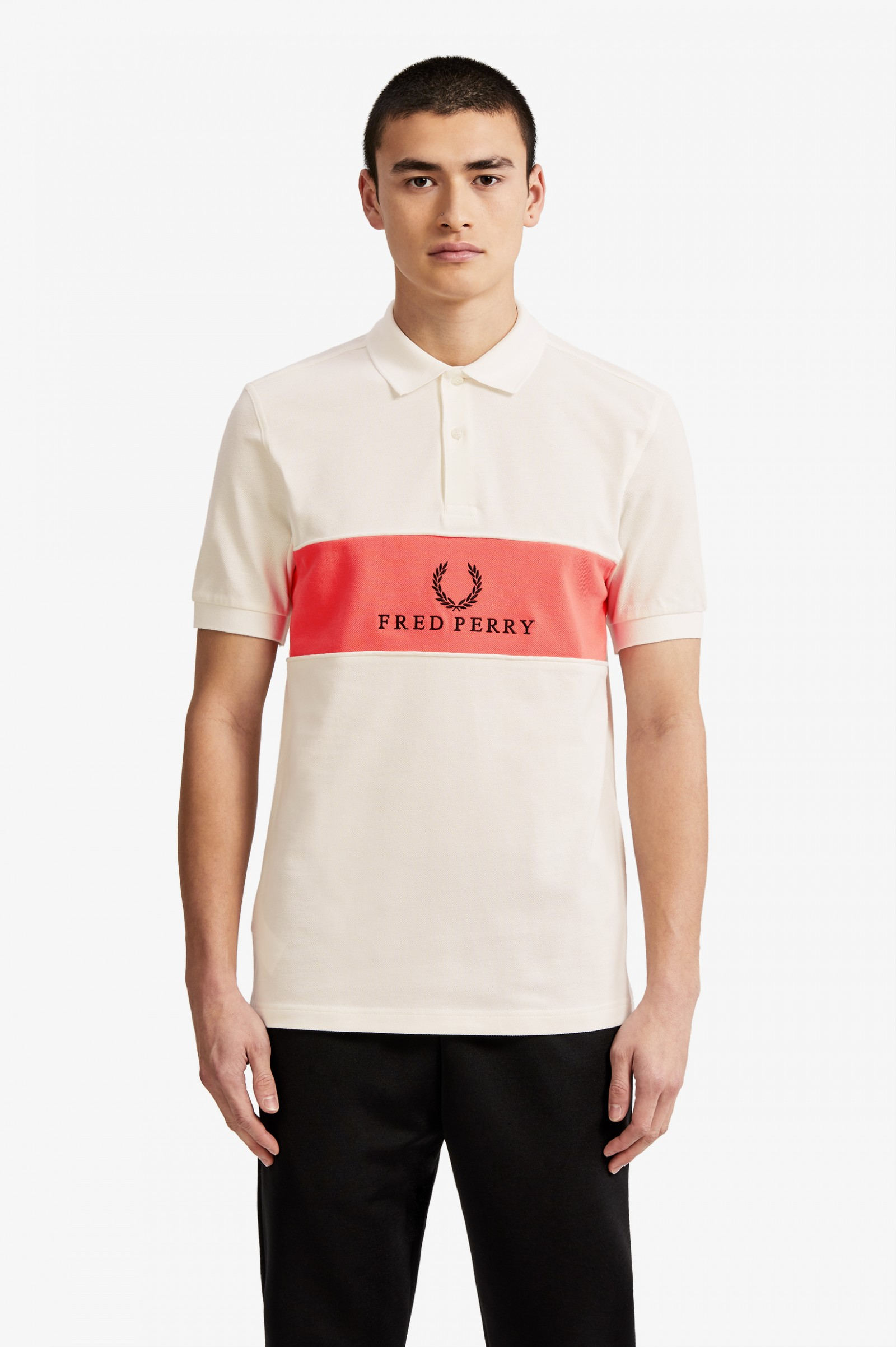 Panel Piped Polo Shirt Snow White Mens Polo Shirts Fred Perry Us