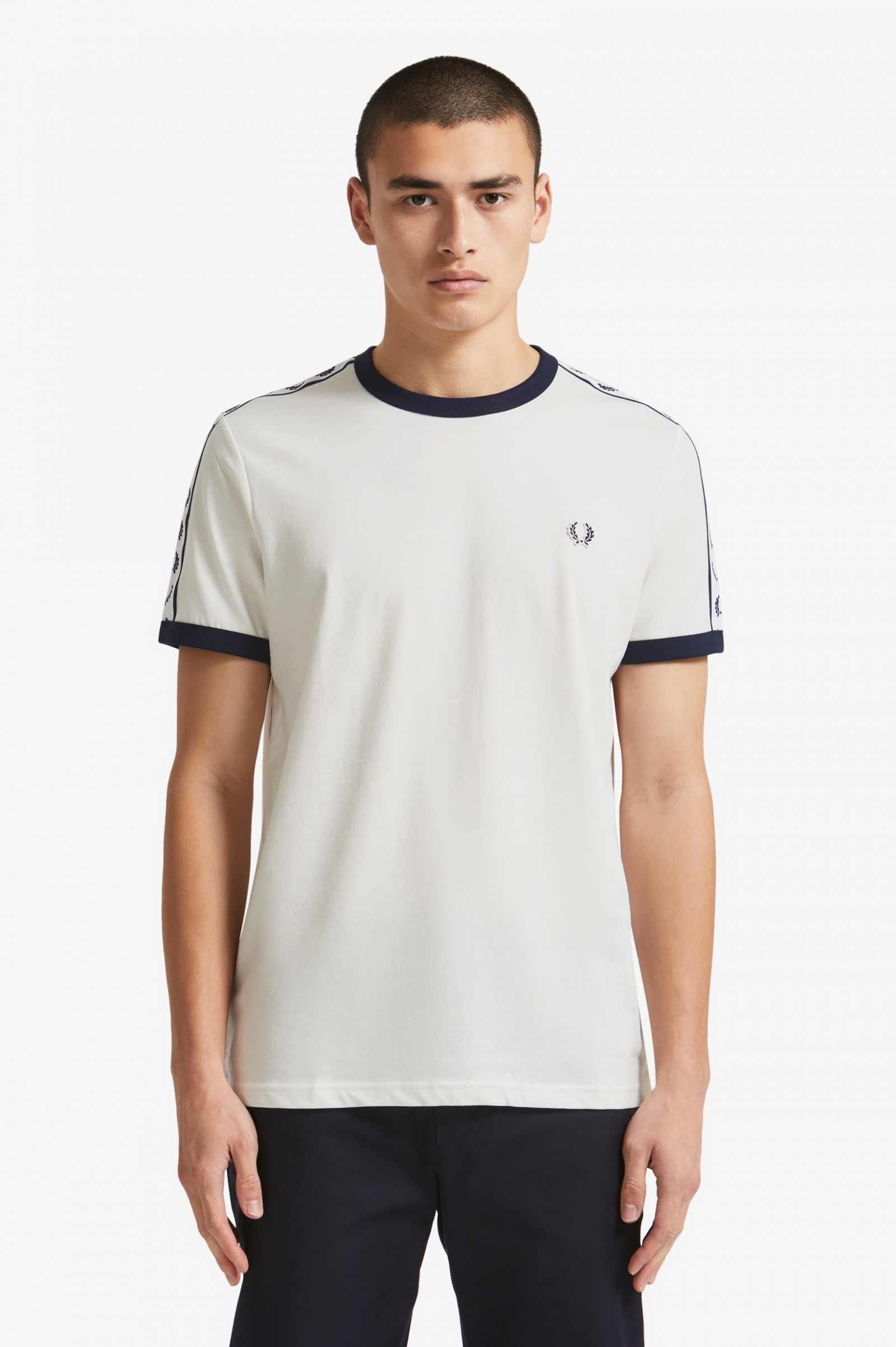 fa40a8c55ba3 Taped Ringer T-Shirt - Snow White | Men's T-Shirts | Fred Perry US