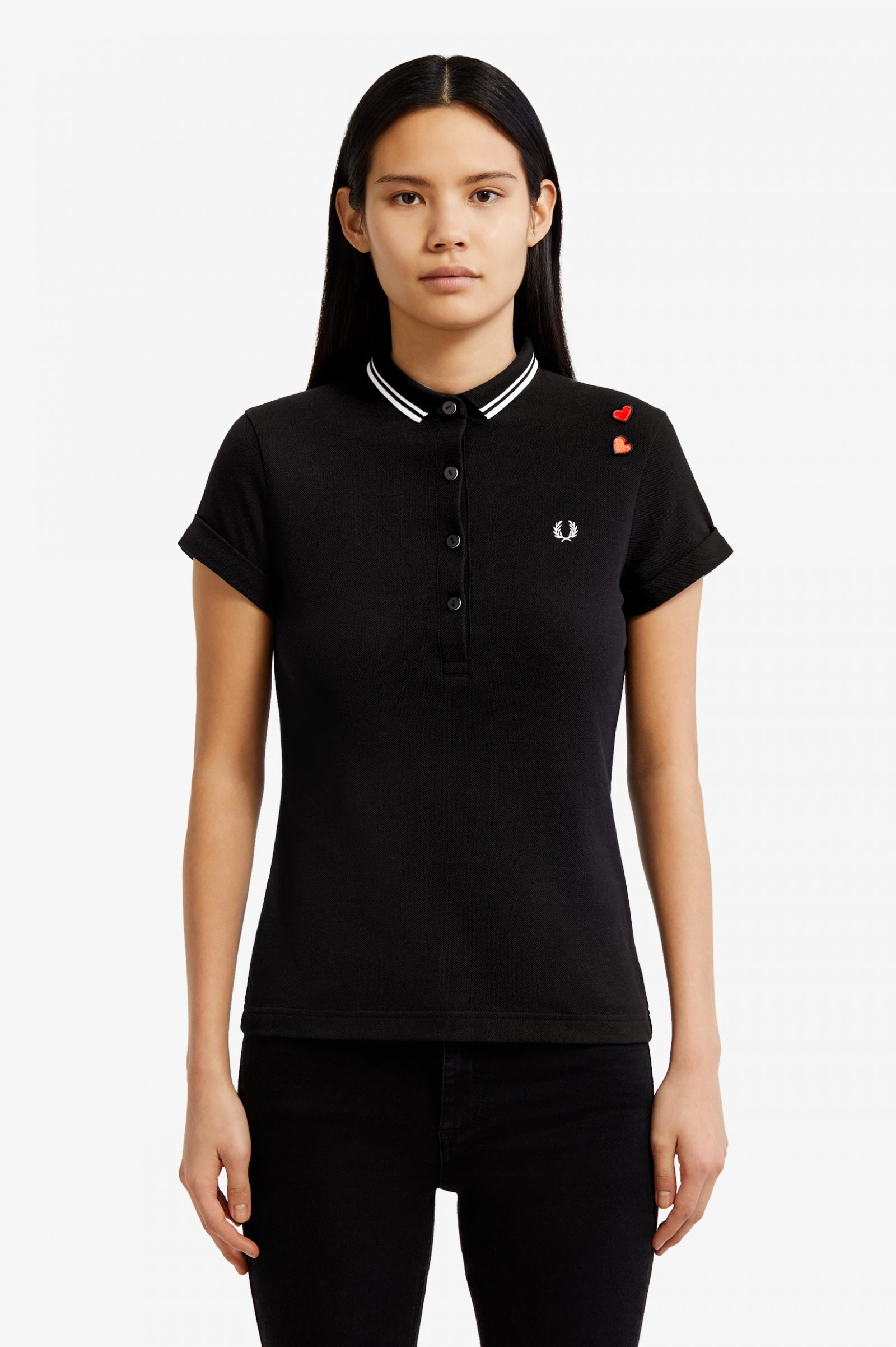 Amy Fred Perry Shirt Black Womens Polo Shirts Fred Perry Us