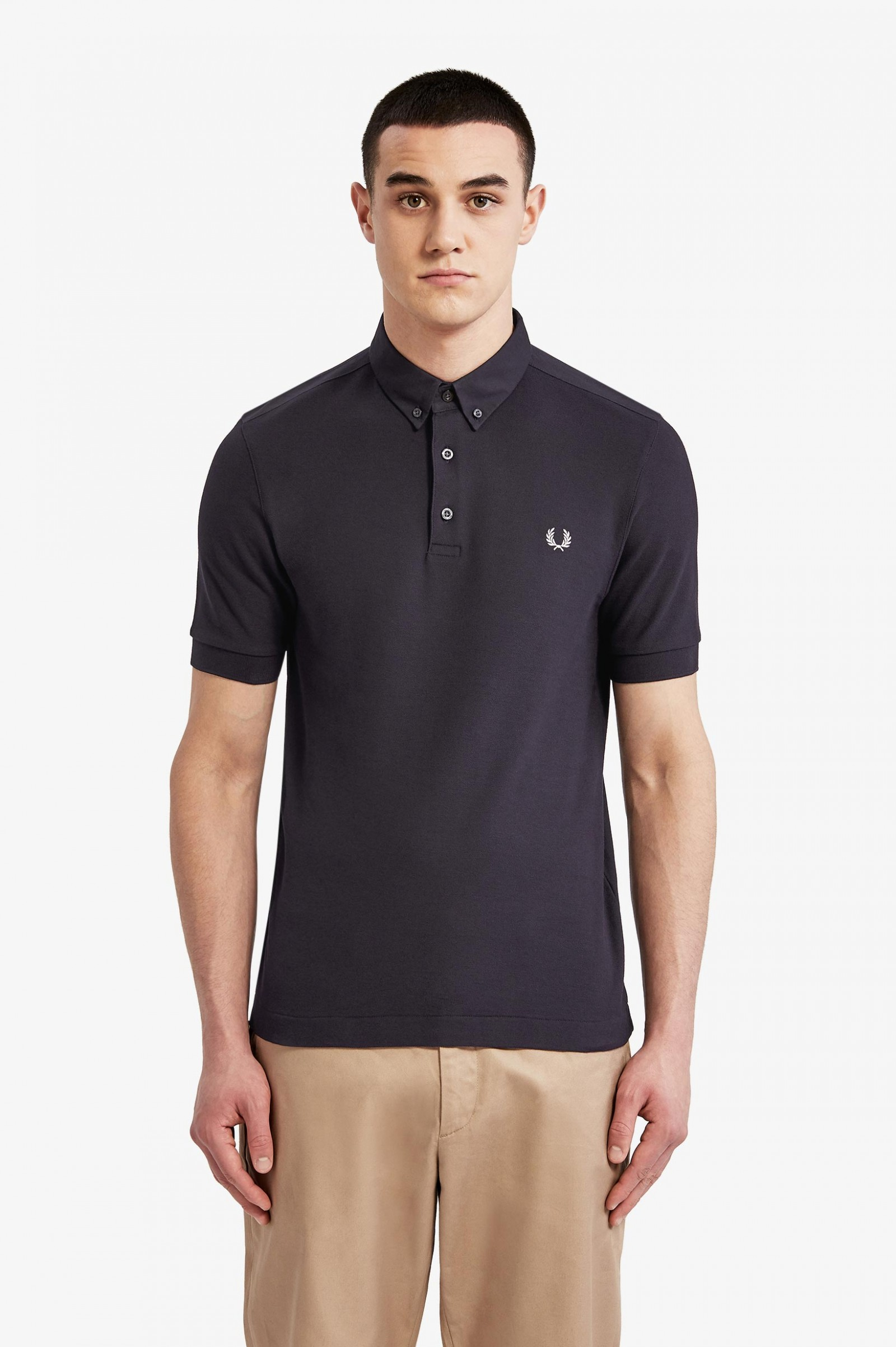 677c94f0 Oxford Trim Polo Shirt - Navy | Men's Polo Shirts | Fred Perry US