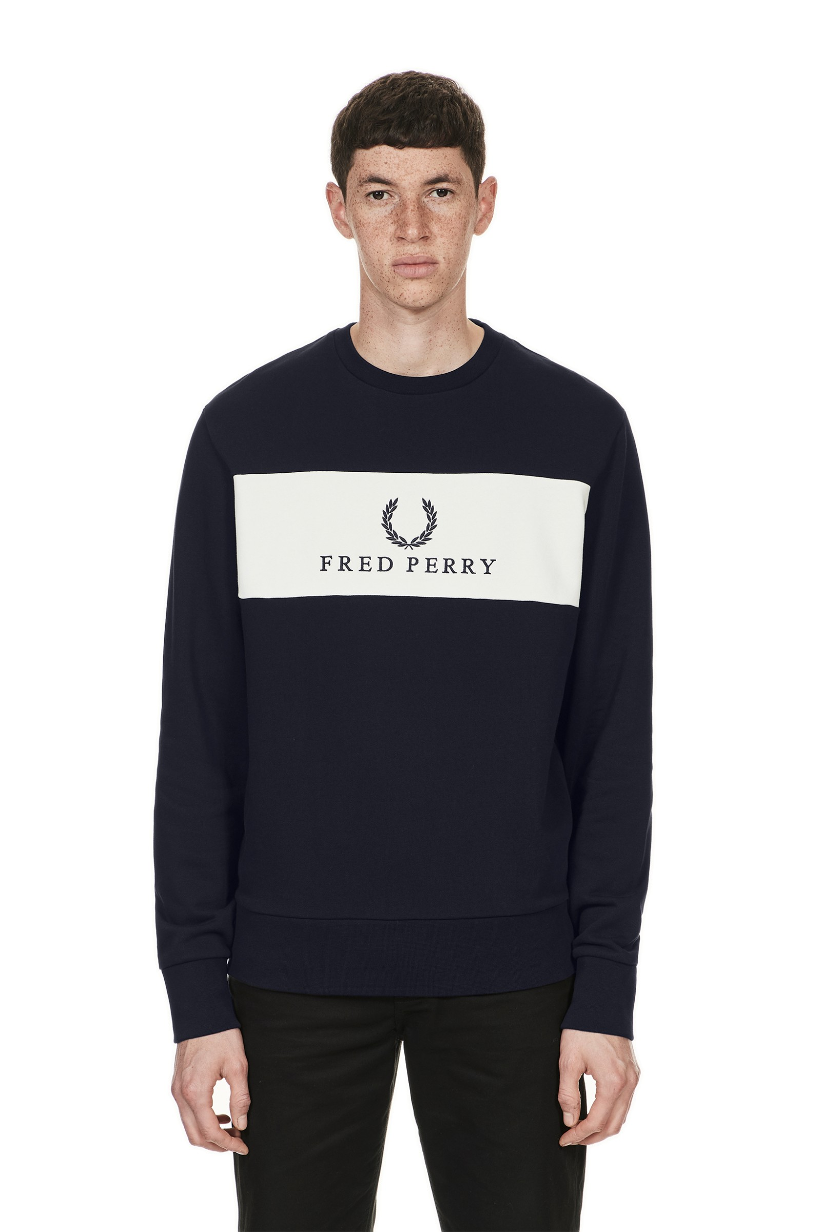 Sweatshirt Us Embroidered Perry Panel Sports Authentic Navy Fred 0tw15Hxn