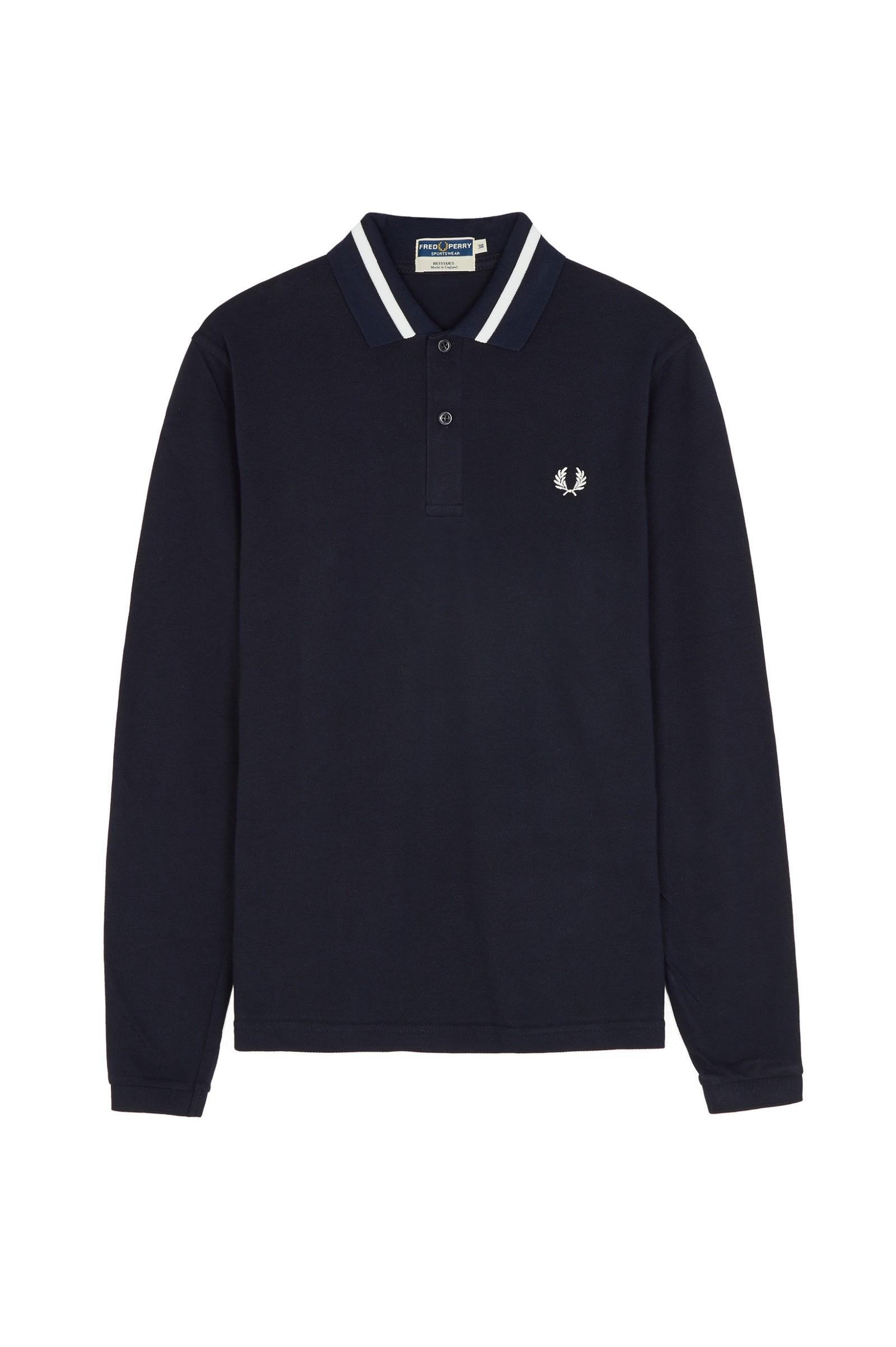 d4ad55ec1 Long Sleeve Single Tipped Fred Perry Shirt Navy   Snow